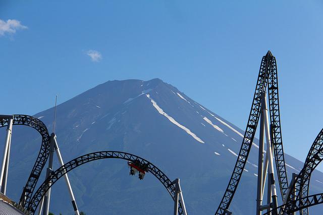 Mt Fuji and rollar coaster, japan