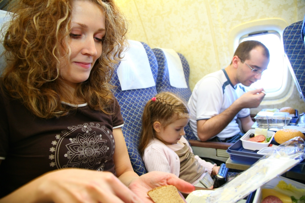 Passengers eating meal