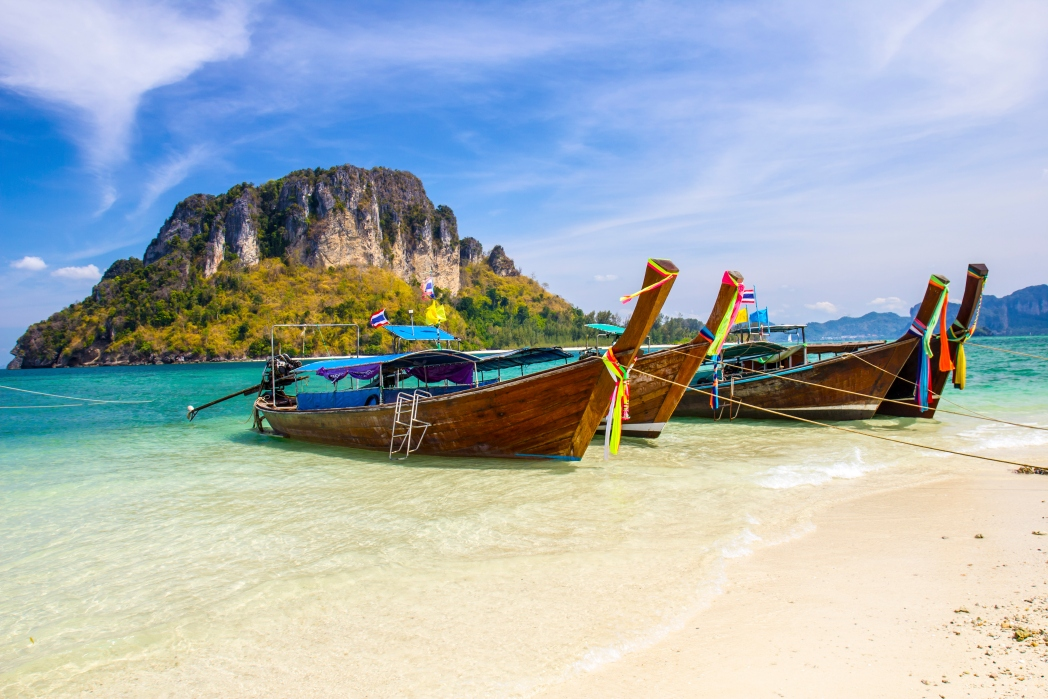 Boats on beach in Thailand