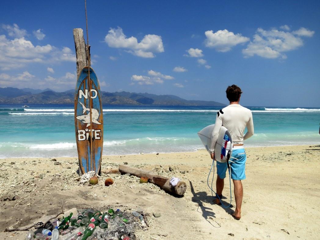 surfer at Gili Trawangan