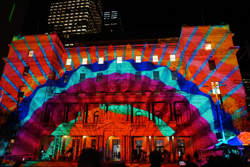 Take a tripod to help take bright and sharp images like this one - Customs House Sydney during Vivid
