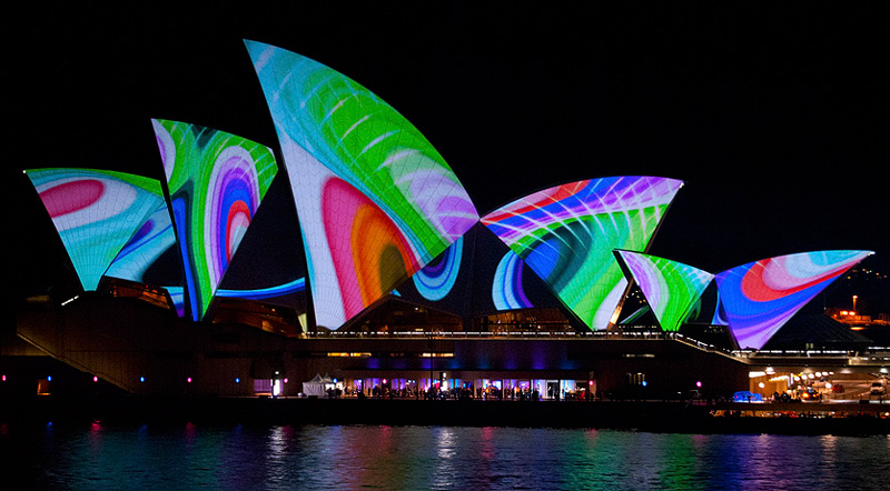 Sydney Opera House all dressed up in multi coloured projection art